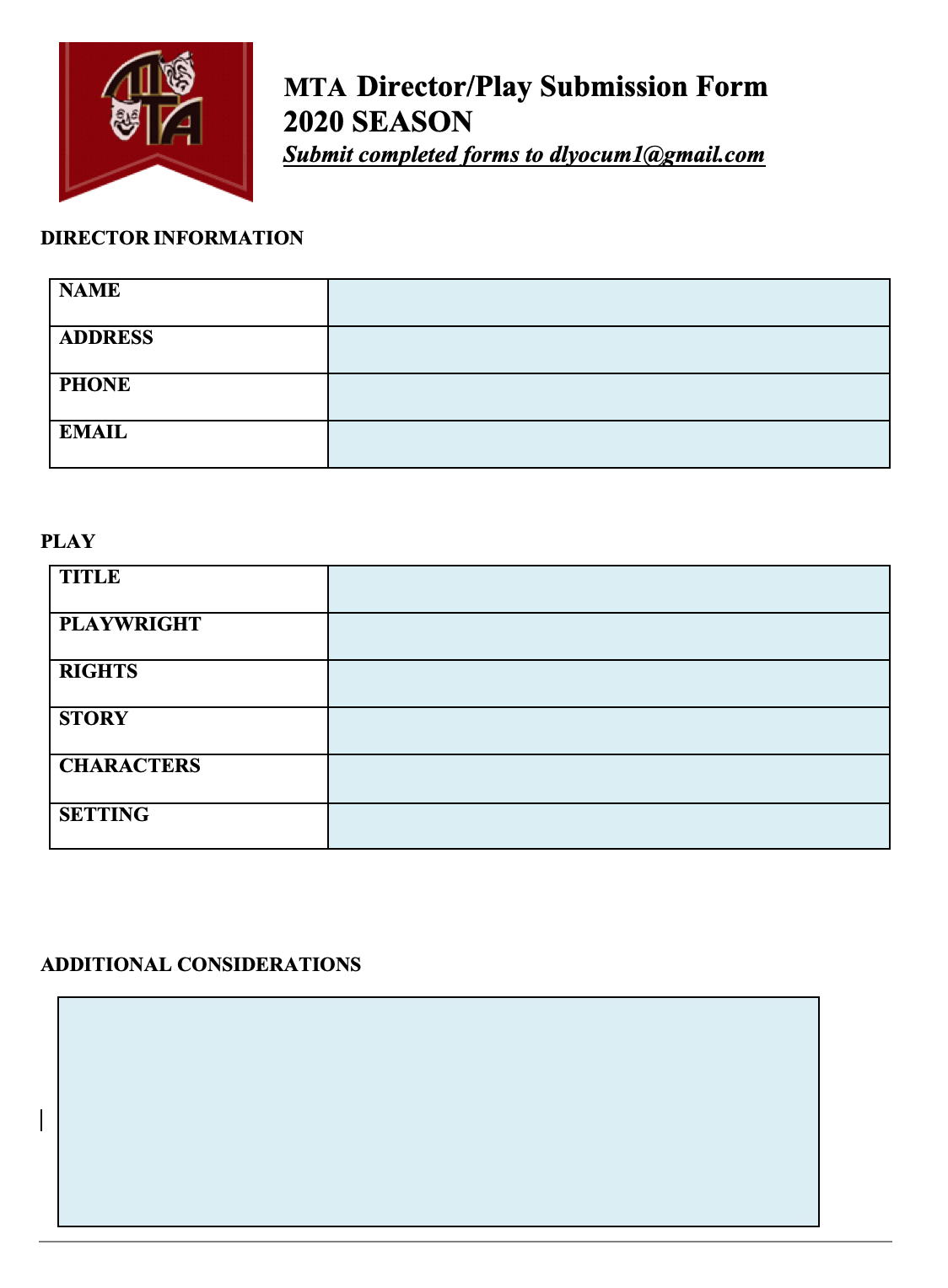 Director/Play proposal form